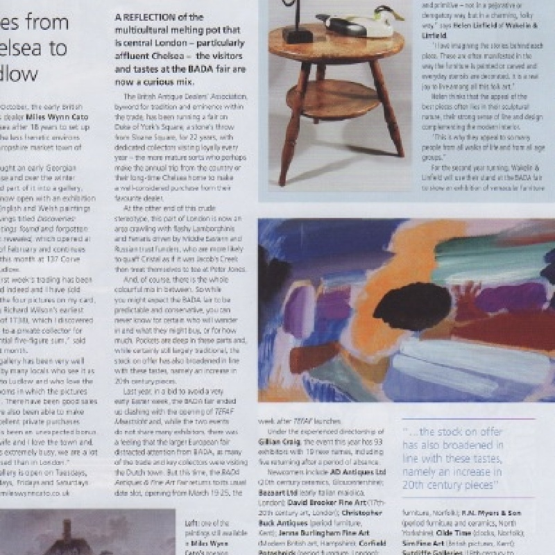 The Antiques Trade Gazette features the gallery in its BADA preview